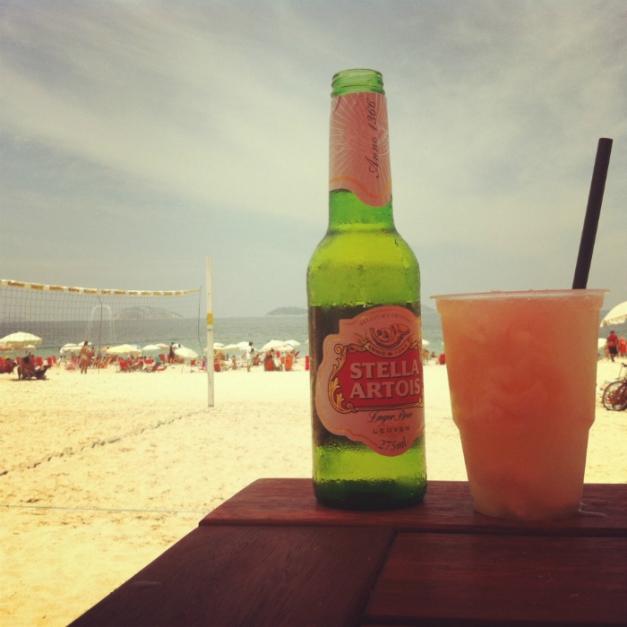 Stella Artois and a lychee caipirinha